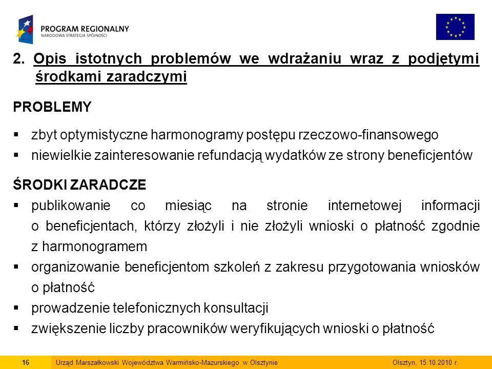 16Urząd Marszałkowski Województwa Warmińsko-Mazurskiego w Olsztynie Olsztyn, 15.10.2010 r.