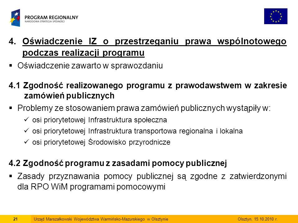 4. Oświadczenie IZ o przestrzeganiu prawa wspólnotowego podczas realizacji programu  Oświadczenie zawarto w sprawozdaniu 4.1 Zgodność realizowanego p