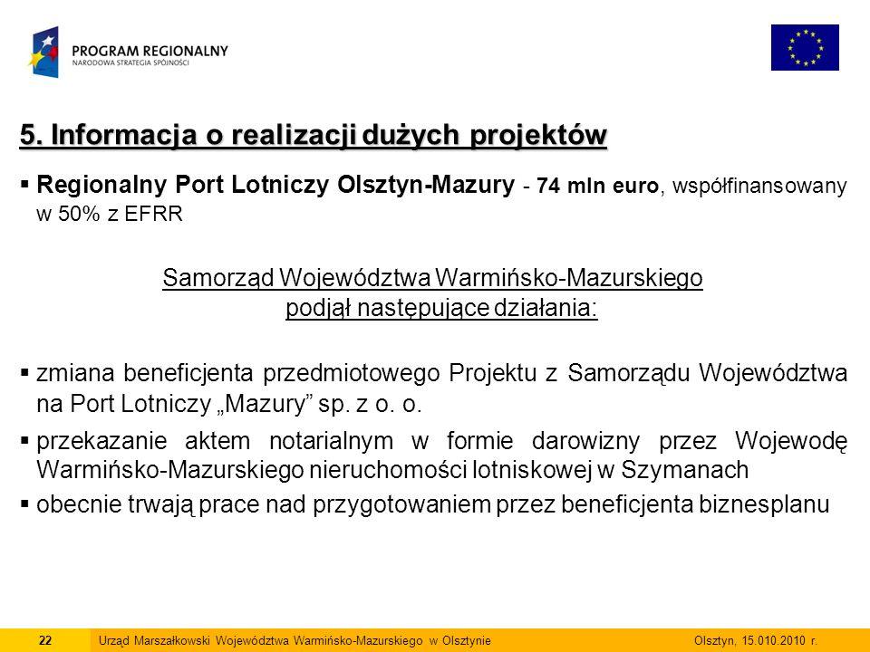 22Urząd Marszałkowski Województwa Warmińsko-Mazurskiego w Olsztynie Olsztyn, 15.010.2010 r.