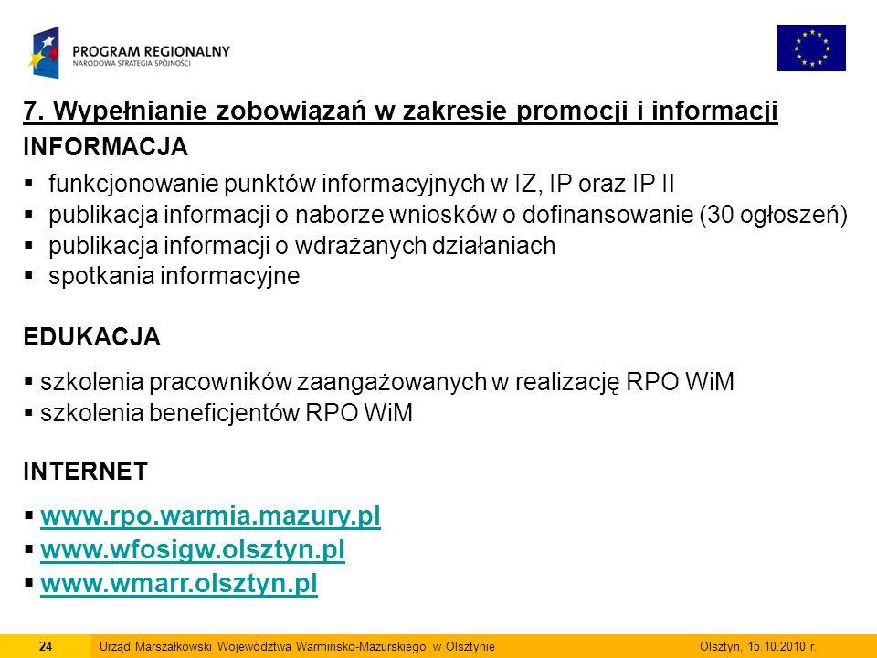 24Urząd Marszałkowski Województwa Warmińsko-Mazurskiego w Olsztynie Olsztyn, 15.10.2010 r.
