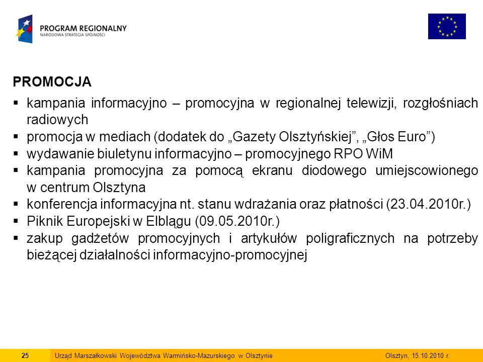25Urząd Marszałkowski Województwa Warmińsko-Mazurskiego w Olsztynie Olsztyn, 15.10.2010 r.