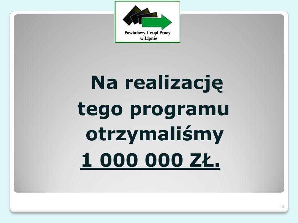 Na realizację tego programu otrzymaliśmy 1 000 000 ZŁ. 10