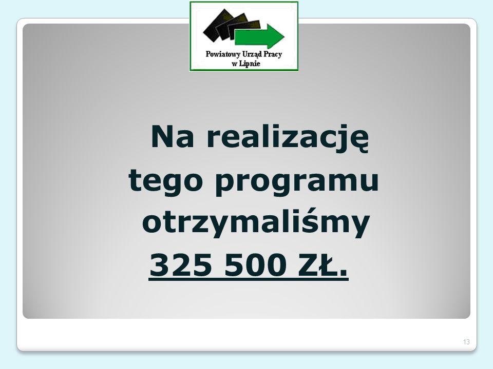 Na realizację tego programu otrzymaliśmy 325 500 ZŁ. 13