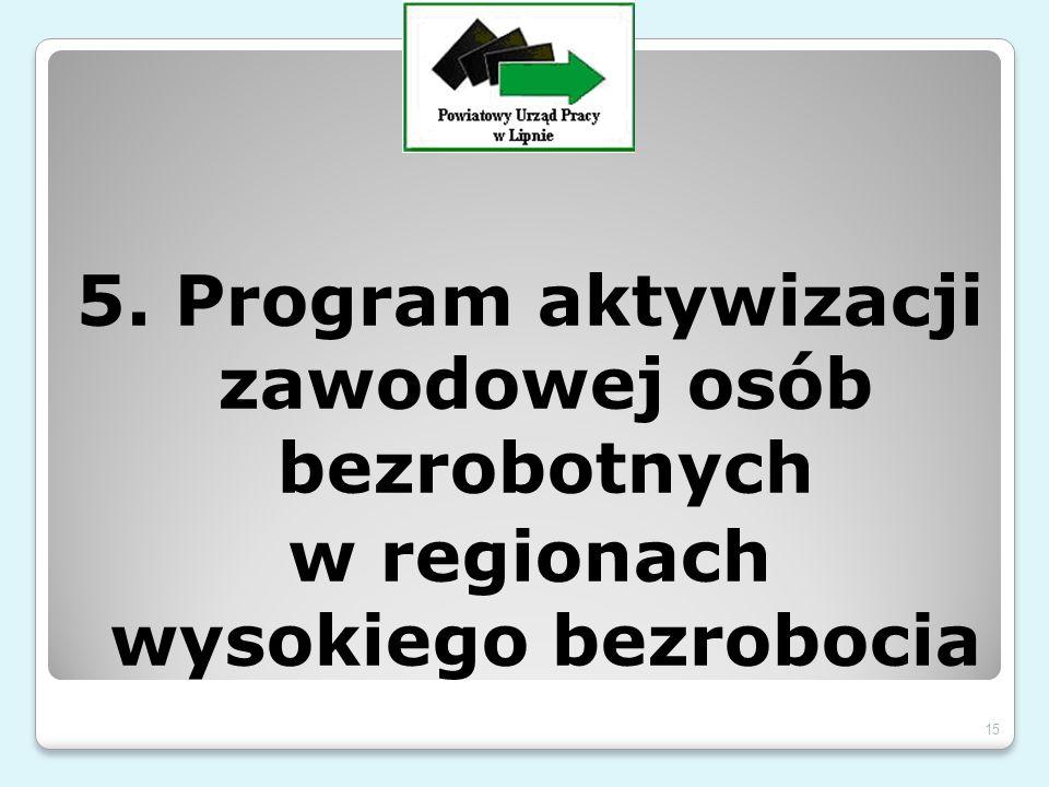 5. Program aktywizacji zawodowej osób bezrobotnych w regionach wysokiego bezrobocia 15