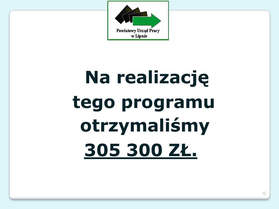 Na realizację tego programu otrzymaliśmy 305 300 ZŁ. 16