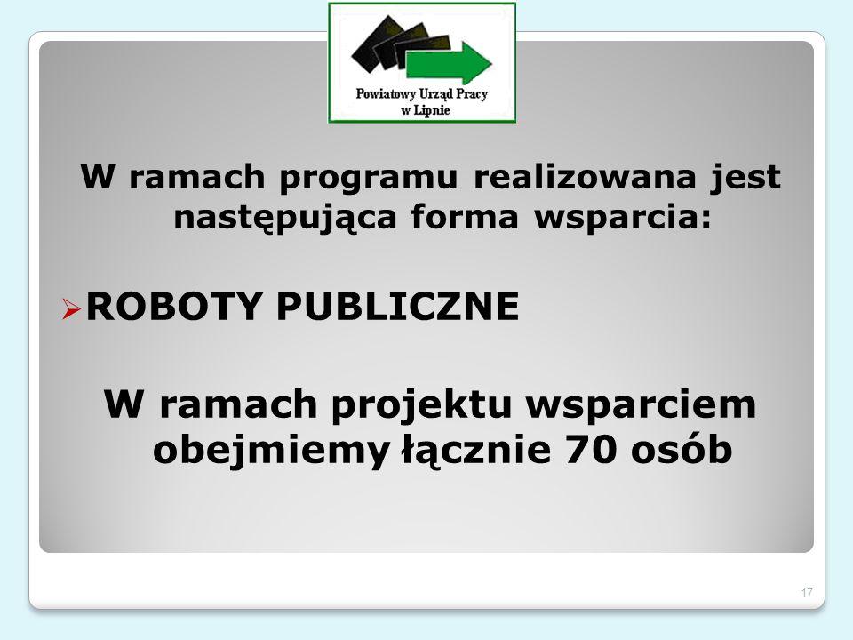 W ramach programu realizowana jest następująca forma wsparcia:  ROBOTY PUBLICZNE W ramach projektu wsparciem obejmiemy łącznie 70 osób 17