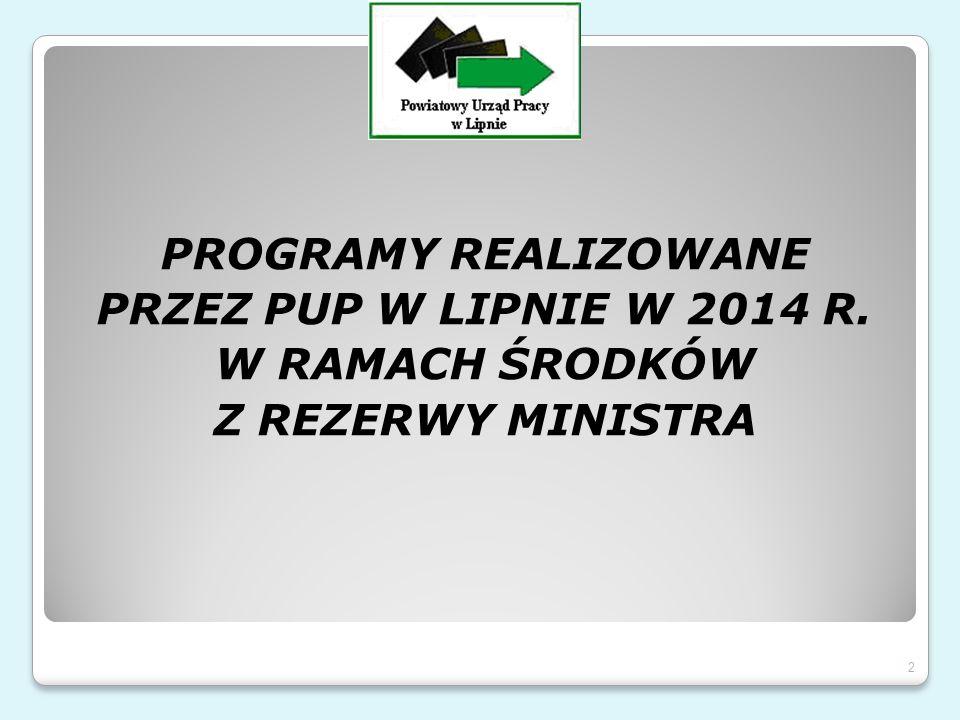 PROGRAMY REALIZOWANE PRZEZ PUP W LIPNIE W 2014 R. W RAMACH ŚRODKÓW Z REZERWY MINISTRA 2