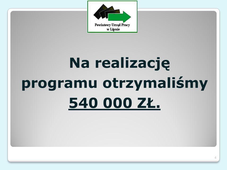 Na realizację programu otrzymaliśmy 540 000 ZŁ. 4