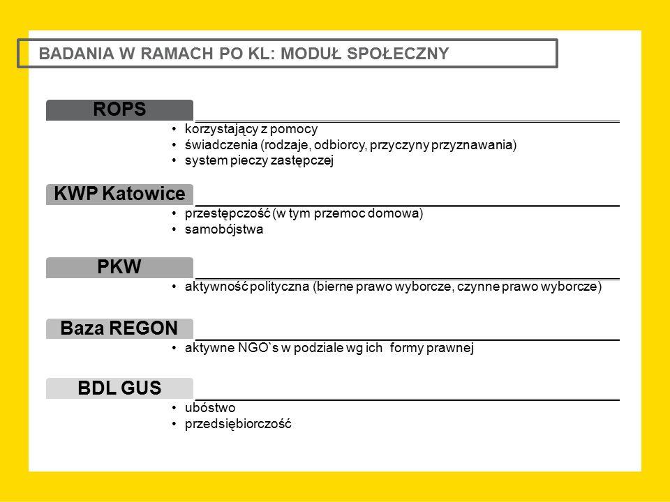 BADANIA W RAMACH PO KL: MODUŁ SPOŁECZNY ROPS korzystający z pomocy świadczenia (rodzaje, odbiorcy, przyczyny przyznawania) system pieczy zastępczej KW