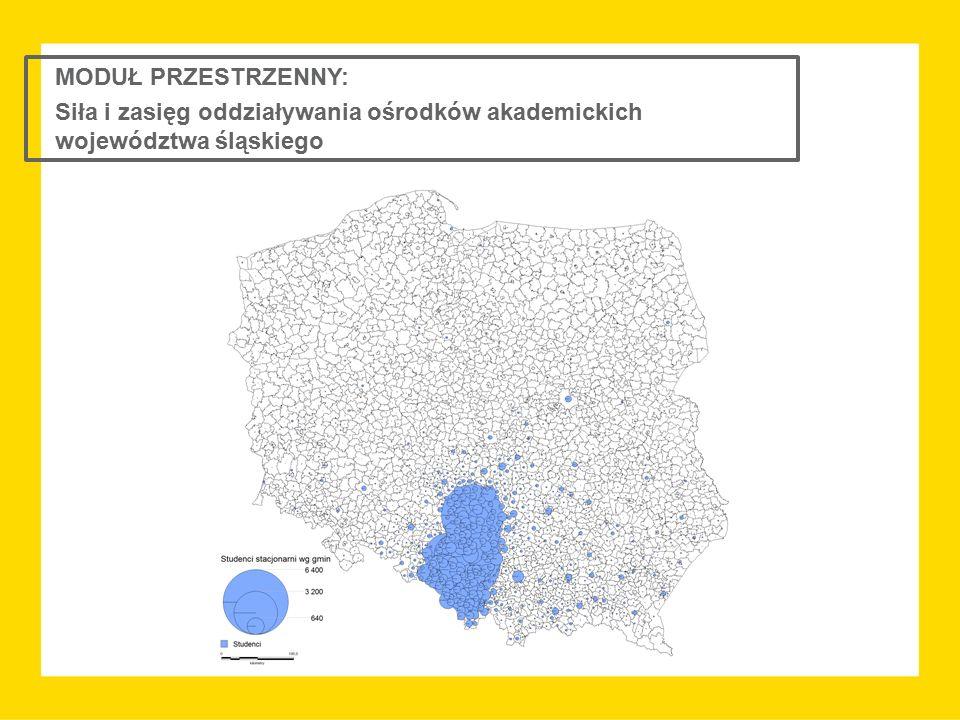 MODUŁ PRZESTRZENNY: Siła i zasięg oddziaływania ośrodków akademickich województwa śląskiego