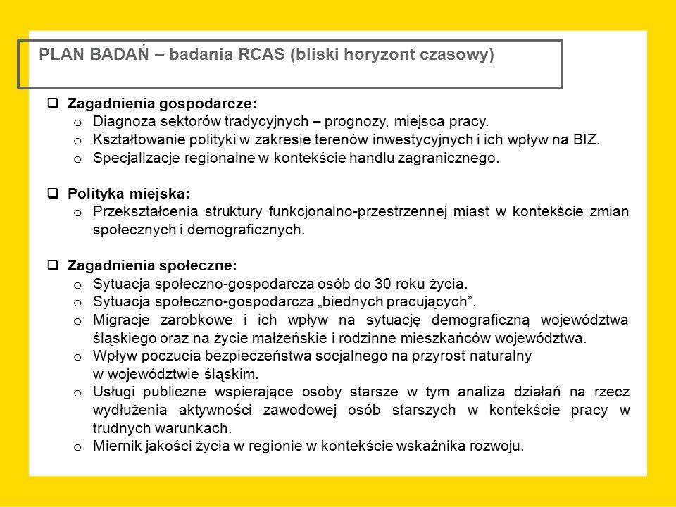 PLAN BADAŃ – badania RCAS (bliski horyzont czasowy)  Zagadnienia gospodarcze: o Diagnoza sektorów tradycyjnych – prognozy, miejsca pracy. o Kształtow