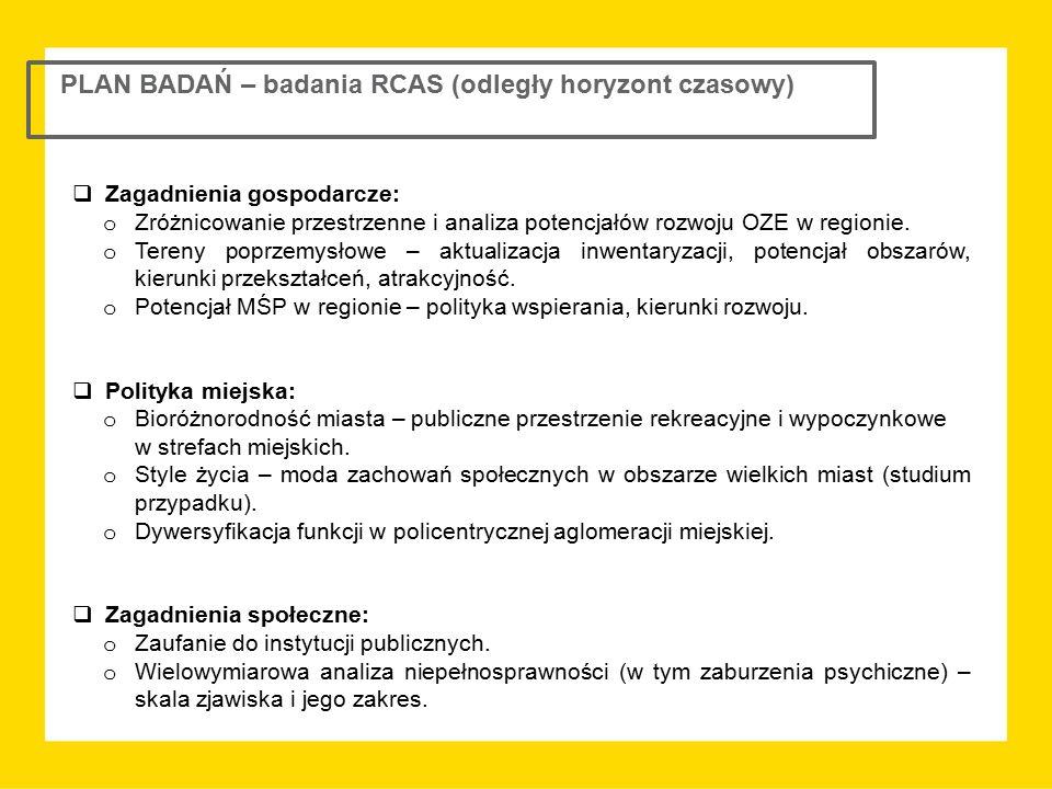 PLAN BADAŃ – badania RCAS (odległy horyzont czasowy)  Zagadnienia gospodarcze: o Zróżnicowanie przestrzenne i analiza potencjałów rozwoju OZE w regio