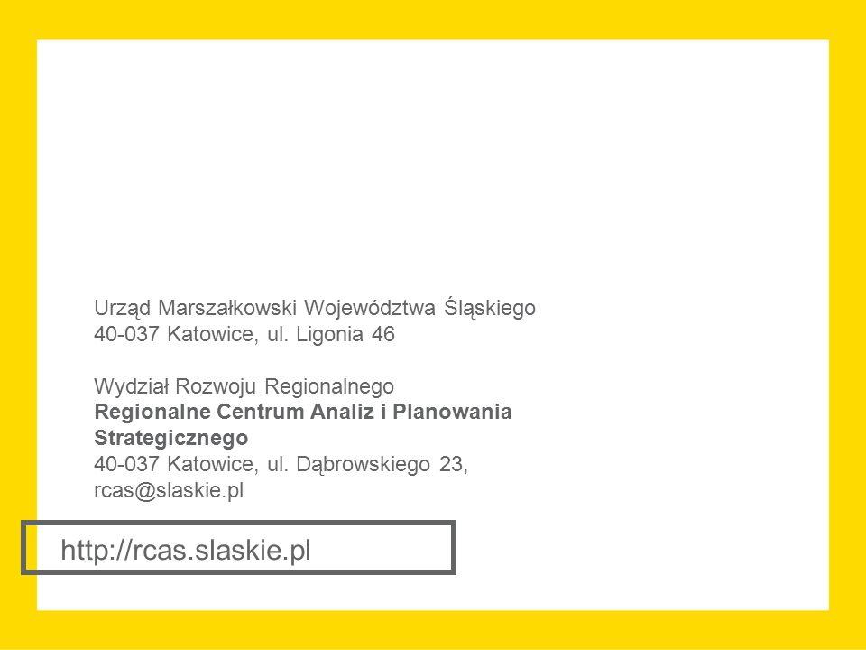 http://rcas.slaskie.pl Urząd Marszałkowski Województwa Śląskiego 40-037 Katowice, ul. Ligonia 46 Wydział Rozwoju Regionalnego Regionalne Centrum Anali