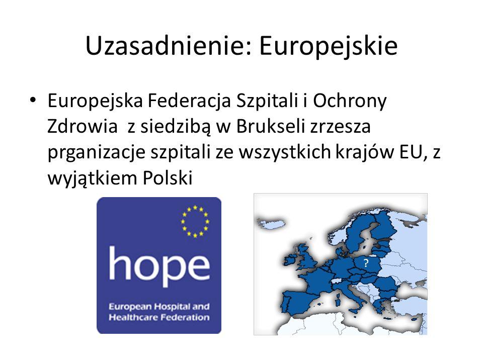 Uzasadnienie: Europejskie Europejska Federacja Szpitali i Ochrony Zdrowia z siedzibą w Brukseli zrzesza prganizacje szpitali ze wszystkich krajów EU, z wyjątkiem Polski