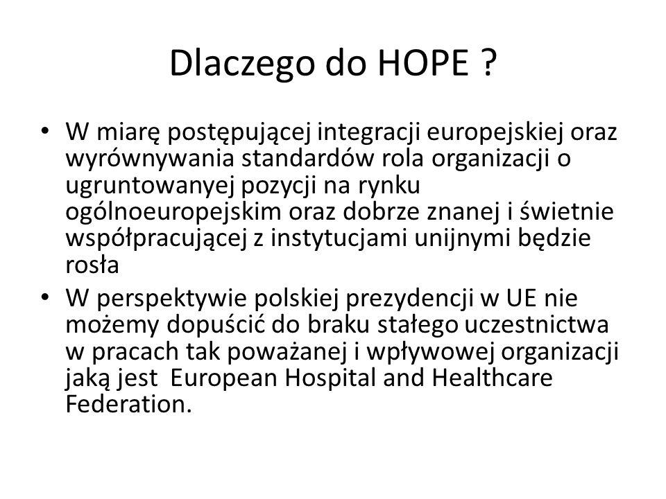 Polska Federacja Szpitali: cele Współpraca z HOPE jako ważny i pełnoprawny uczestnik, udział w pracy Rady Gubernatorów oraz Exchange Program Oddziaływanie na prace Komisji Europejskiej, Parlamentu Europejskiego, prezydencji UE oraz krajowych organów rządowych i ustawodawczych Opracowywanie i utrzymywanie informacji na temat usług szpitalnych na krajowym rynku ochrony zdrowia oraz wspólnotowym Pomoc członkom federacji w sprawach organizacyjnych oraz ubezpieczeniowych związanych z działalnością szpitali na rynku ochrony zdrowia.