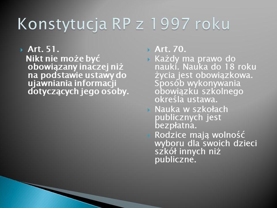  Art. 51. Nikt nie może być obowiązany inaczej niż na podstawie ustawy do ujawniania informacji dotyczących jego osoby.  Art. 70.  Każdy ma prawo d