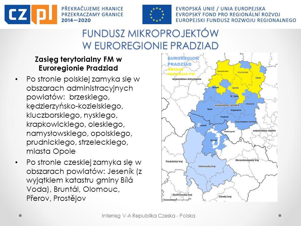 FUNDUSZ MIKROPROJEKTÓW W EUROREGIONIE PRADZIAD Interreg V-A Republika Czeska - Polska Partnerskie (Typ B) – mikroprojekty składane przez partnerów z Polski i Czech na osobnych wnioskach z dwoma budżetami (działania projektów i budżety są ze sobą powiązane i uzupełniają się).