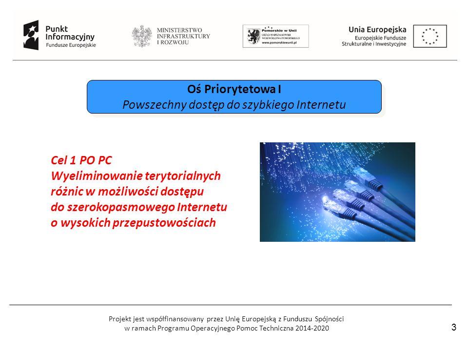 Projekt jest współfinansowany przez Unię Europejską z Funduszu Spójności w ramach Programu Operacyjnego Pomoc Techniczna 2014-2020 3 Oś Priorytetowa I Powszechny dostęp do szybkiego Internetu Oś Priorytetowa I Powszechny dostęp do szybkiego Internetu Cel 1 PO PC Wyeliminowanie terytorialnych różnic w możliwości dostępu do szerokopasmowego Internetu o wysokich przepustowościach