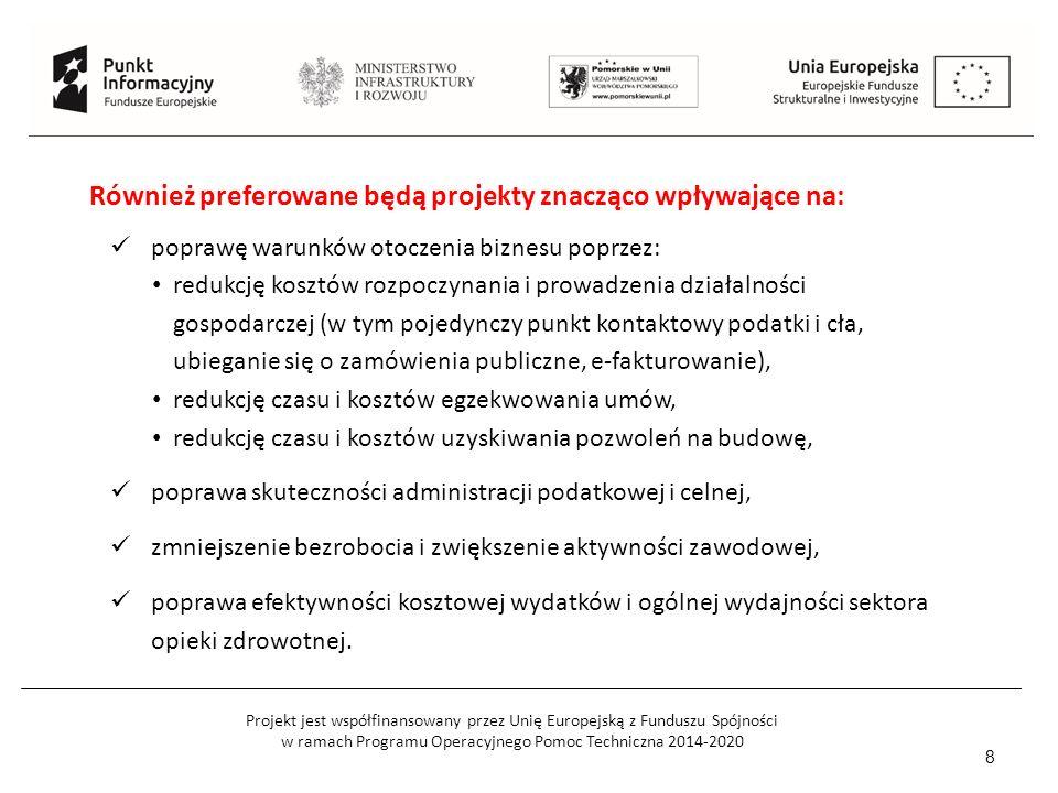 Projekt jest współfinansowany przez Unię Europejską z Funduszu Spójności w ramach Programu Operacyjnego Pomoc Techniczna 2014-2020 8 Również preferowane będą projekty znacząco wpływające na: poprawę warunków otoczenia biznesu poprzez: redukcję kosztów rozpoczynania i prowadzenia działalności gospodarczej (w tym pojedynczy punkt kontaktowy podatki i cła, ubieganie się o zamówienia publiczne, e-fakturowanie), redukcję czasu i kosztów egzekwowania umów, redukcję czasu i kosztów uzyskiwania pozwoleń na budowę, poprawa skuteczności administracji podatkowej i celnej, zmniejszenie bezrobocia i zwiększenie aktywności zawodowej, poprawa efektywności kosztowej wydatków i ogólnej wydajności sektora opieki zdrowotnej.