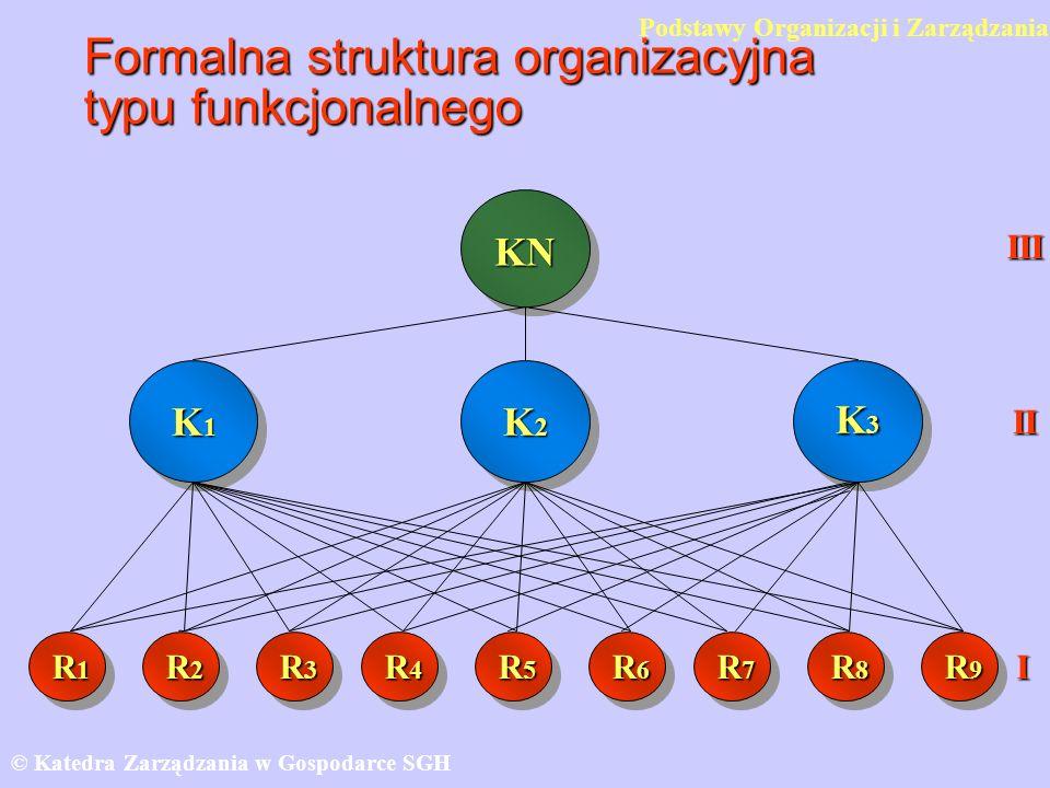 Formalna struktura organizacyjna typu funkcjonalnego © Katedra Zarządzania w Gospodarce SGH KN K1K1K1K1 K3K3K3K3 R1R1R1R1 R2R2R2R2 R3R3R3R3 R4R4R4R4 R5R5R5R5 R6R6R6R6 R7R7R7R7 R8R8R8R8 R9R9R9R9 III II I K2K2K2K2 Podstawy Organizacji i Zarządzania
