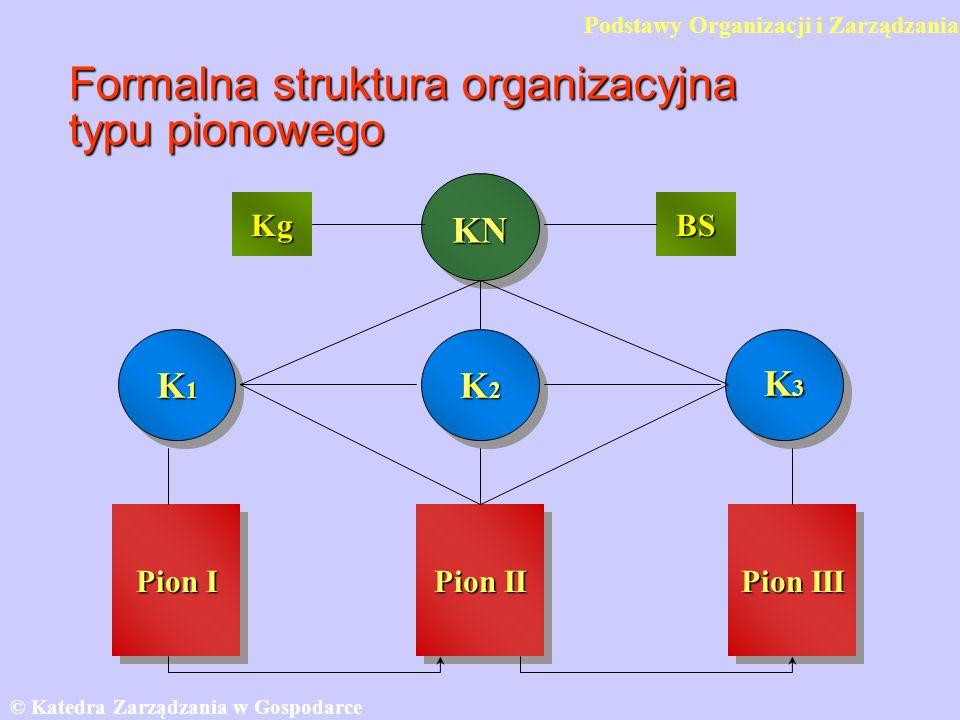 Formalna struktura organizacyjna typu pionowego © Katedra Zarządzania w Gospodarce SGH KN K1K1K1K1 K3K3K3K3 K2K2K2K2 Pion I Pion III Pion II KgBS Pods