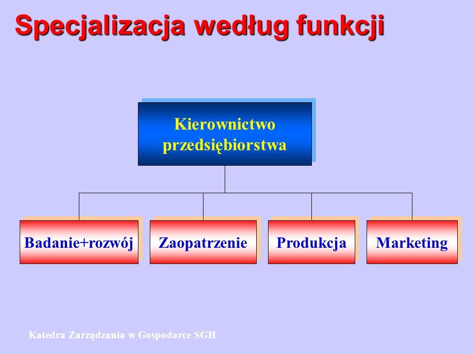 Specjalizacja według funkcji Kierownictwo przedsiębiorstwa Kierownictwo przedsiębiorstwa Badanie+rozwój Zaopatrzenie Produkcja Marketing Katedra Zarzą