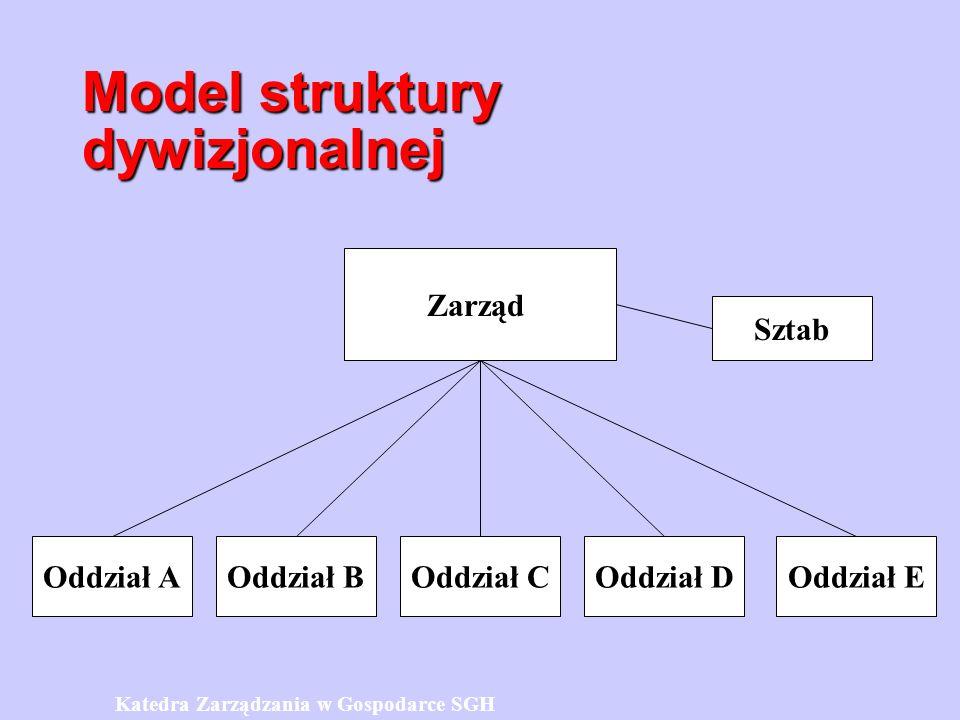 Model struktury dywizjonalnej Zarząd Oddział AOddział BOddział COddział DOddział E Sztab Katedra Zarządzania w Gospodarce SGH