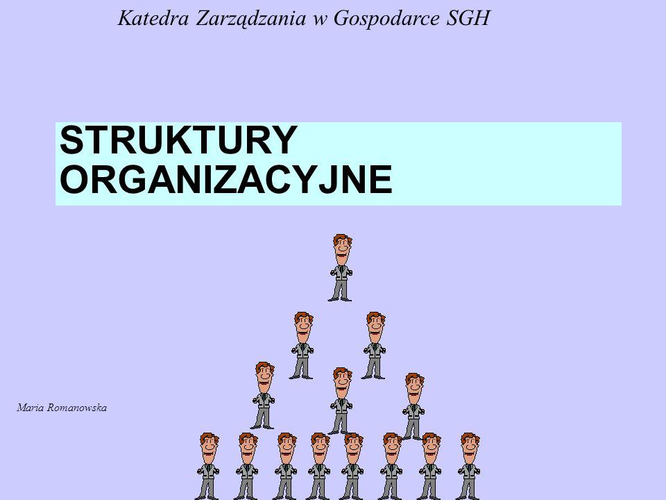 STRUKTURY ORGANIZACYJNE Katedra Zarządzania w Gospodarce SGH Maria Romanowska