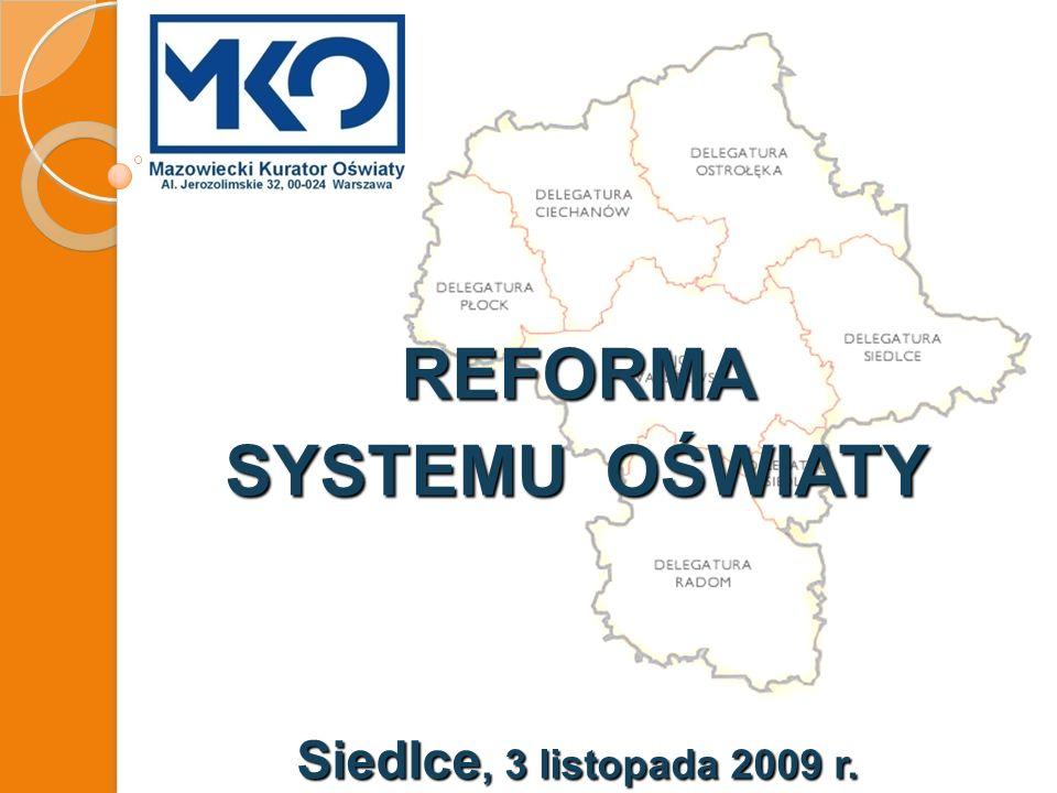 REFORMA SYSTEMU OŚWIATY Siedlce, 3 listopada 2009 r.