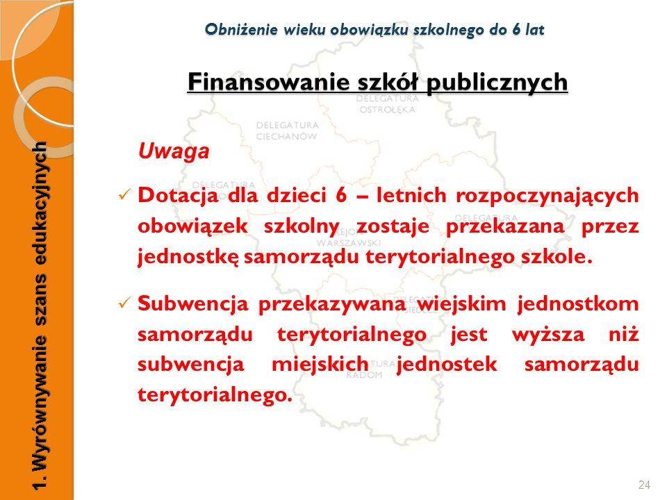 Finansowanie szkół publicznych Uwaga Dotacja dla dzieci 6 – letnich rozpoczynających obowiązek szkolny zostaje przekazana przez jednostkę samorządu te