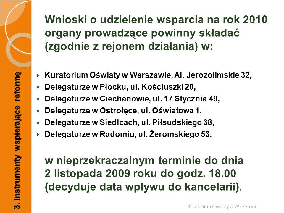 Wnioski o udzielenie wsparcia na rok 2010 organy prowadzące powinny składać (zgodnie z rejonem działania) w: Kuratorium Oświaty w Warszawie, Al. Jeroz
