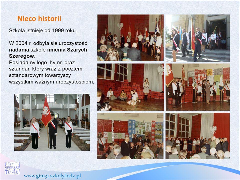 www.gim31.szkoly.lodz.pl Nieco historii Szkoła istnieje od 1999 roku.