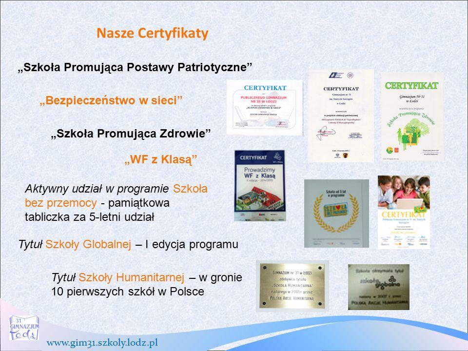 www.gim31.szkoly.lodz.pl Działalność Samorząd Uczniowski organizuje różne imprezy, konkursy, happeningi, akcje i dyskoteki.
