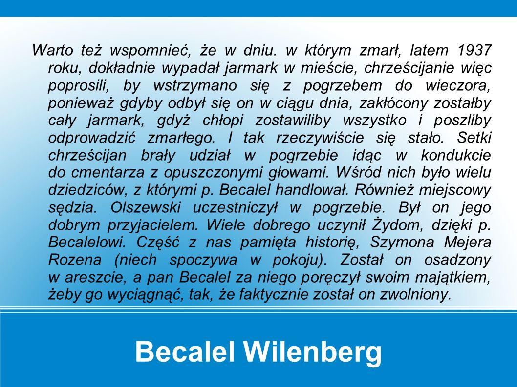 """Becalel Wilenberg Kiedy makowskie """"society w Ameryce wysyłało pomoc, zwłaszcza przed świętem Pesach."""