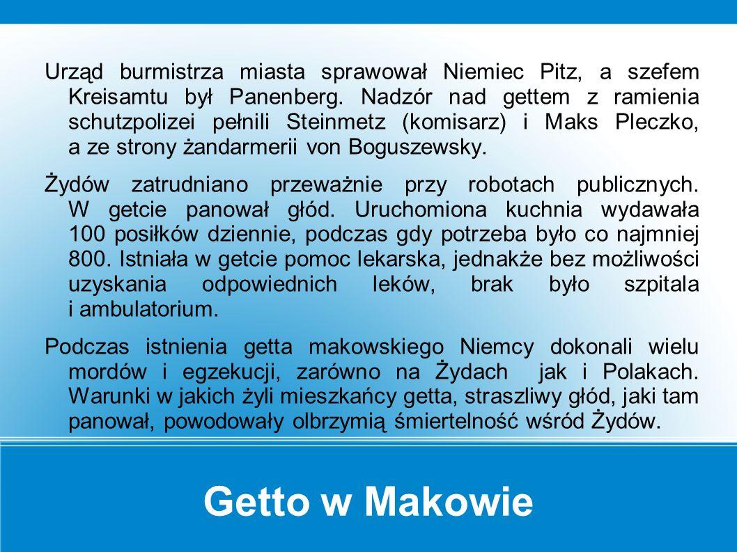 Getto w Makowie Getto w Makowie hitlerowcy utworzyli pod koniec 1940 r.