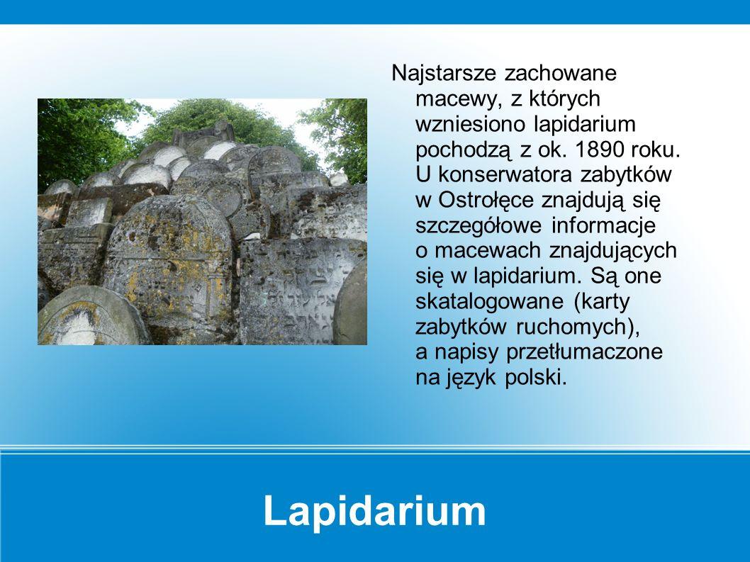 """Lapidarium Na terenie obecnego dworca PKS znajdował się """"stary cmentarz żydowski."""