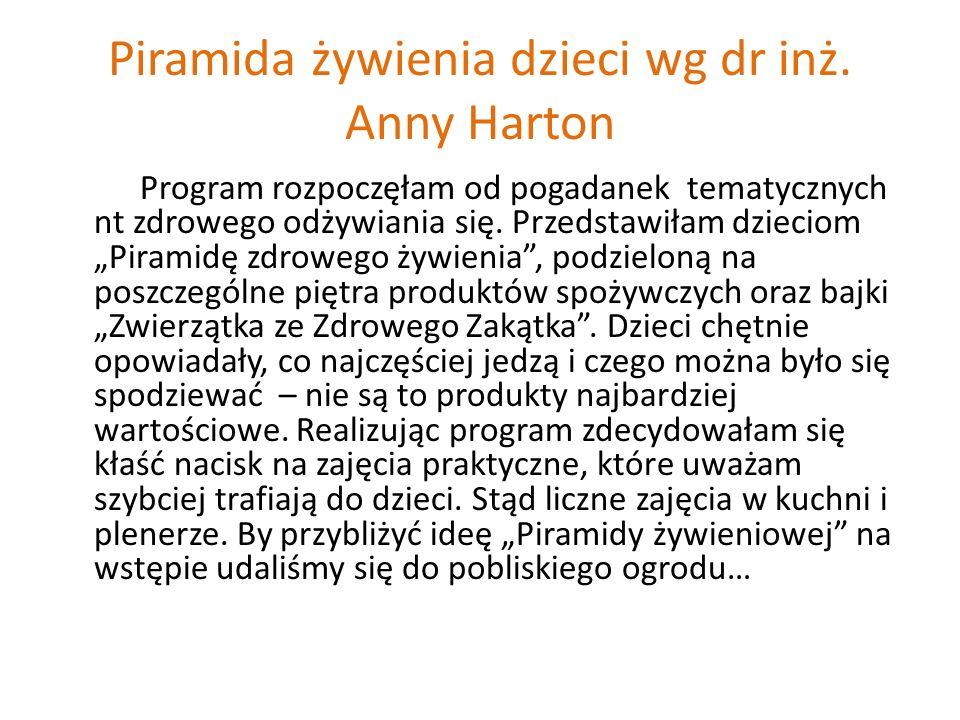 """Piramida żywienia dzieci wg dr inż. Anny Harton Program rozpoczęłam od pogadanek tematycznych nt zdrowego odżywiania się. Przedstawiłam dzieciom """"Pira"""