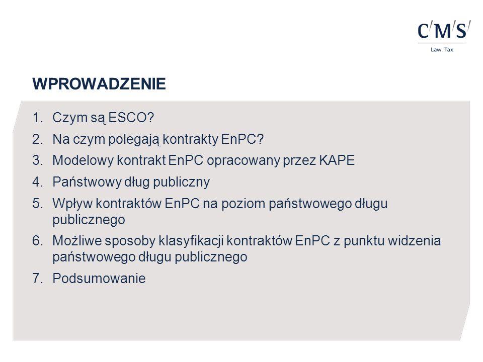 WPROWADZENIE 1.Czym są ESCO? 2.Na czym polegają kontrakty EnPC? 3.Modelowy kontrakt EnPC opracowany przez KAPE 4.Państwowy dług publiczny 5.Wpływ kont