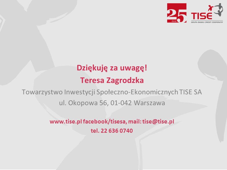 Dziękuję za uwagę. Teresa Zagrodzka Towarzystwo Inwestycji Społeczno-Ekonomicznych TISE SA ul.