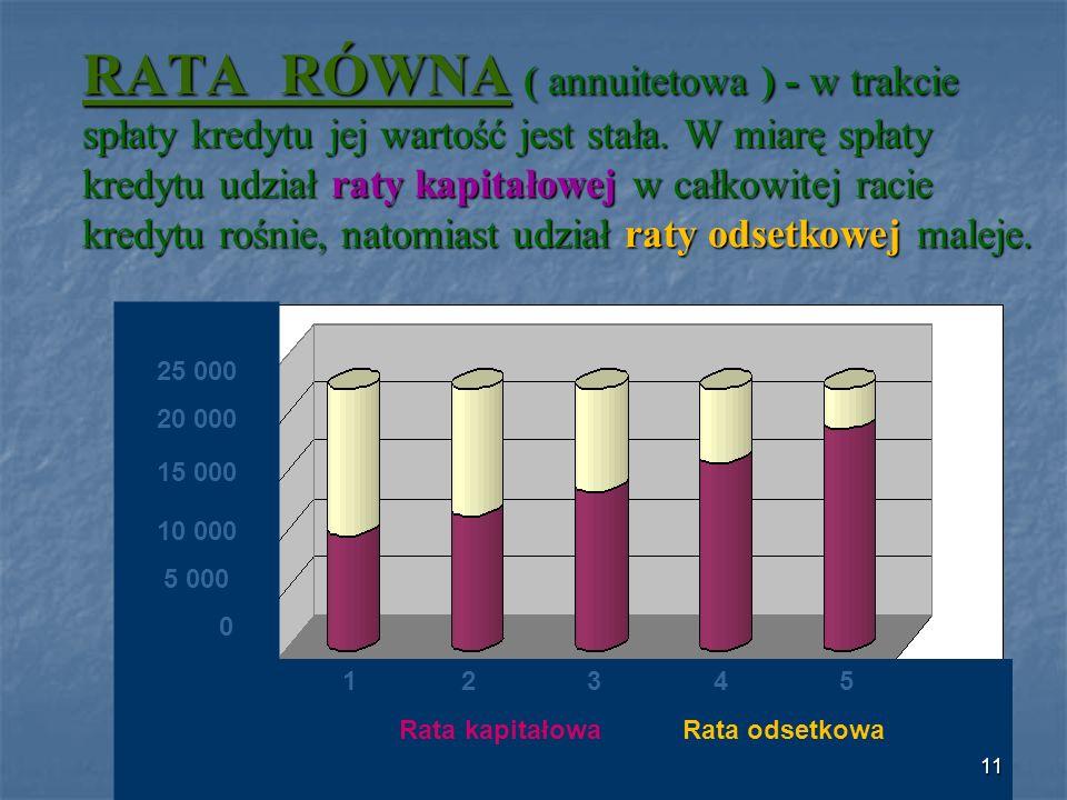 RATA RÓWNA ( annuitetowa ) - w trakcie spłaty kredytu jej wartość jest stała.