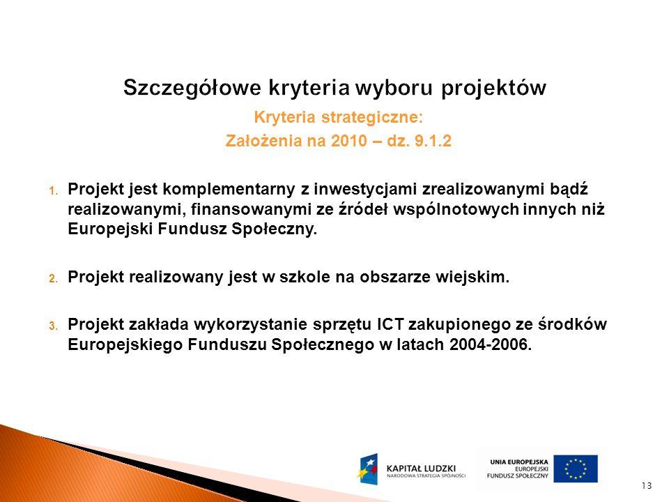 Kryteria strategiczne: Założenia na 2010 – dz. 9.1.2 1.