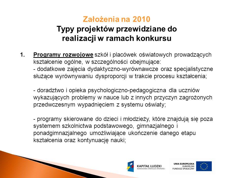 Założenia na 2010 Typy projektów przewidziane do realizacji w ramach konkursu 1.Programy rozwojowe szkół i placówek oświatowych prowadzących kształcenie ogólne, w szczególności obejmujące: - dodatkowe zajęcia dydaktyczno-wyrównawcze oraz specjalistyczne służące wyrównywaniu dysproporcji w trakcie procesu kształcenia; - doradztwo i opieka psychologiczno-pedagogiczna dla uczniów wykazujących problemy w nauce lub z innych przyczyn zagrożonych przedwczesnym wypadnięciem z systemu oświaty; - programy skierowane do dzieci i młodzieży, które znajdują się poza systemem szkolnictwa podstawowego, gimnazjalnego i ponadgimnazjalnego umożliwiające ukończenie danego etapu kształcenia oraz kontynuację nauki;