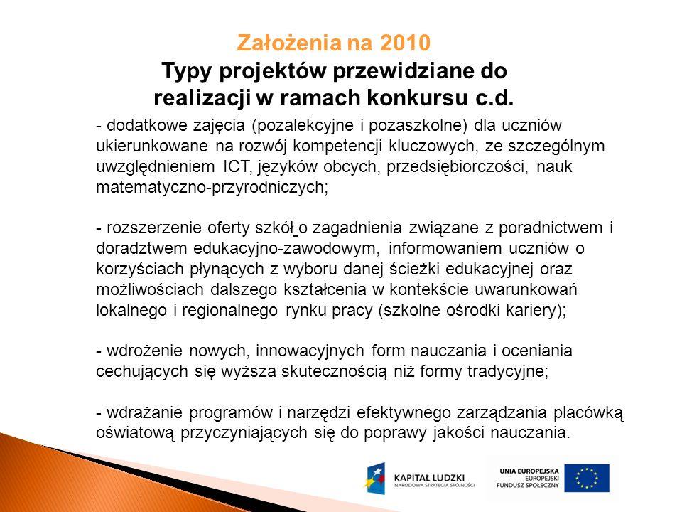 W Planie Działania na 2010r założono rozpoczęcie realizacji projektu systemowego dla wszystkich szkół podstawowych w województwie podlaskim.