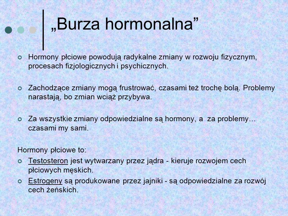 """""""Burza hormonalna Hormony płciowe powodują radykalne zmiany w rozwoju fizycznym, procesach fizjologicznych i psychicznych."""