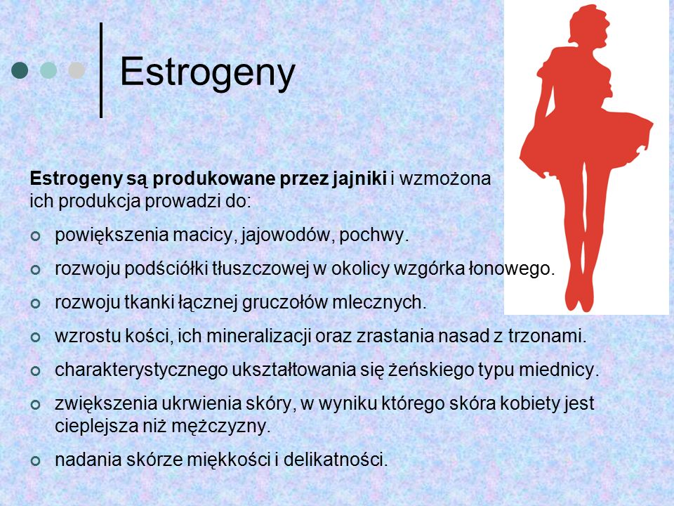 Estrogeny Estrogeny są produkowane przez jajniki i wzmożona ich produkcja prowadzi do: powiększenia macicy, jajowodów, pochwy. rozwoju podściółki tłus