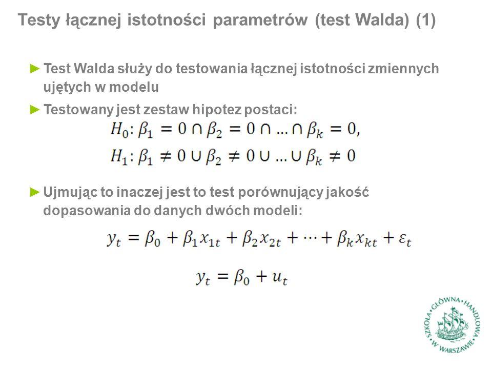 Testy łącznej istotności parametrów (test Walda) (1) ►Test Walda służy do testowania łącznej istotności zmiennych ujętych w modelu ►Testowany jest zestaw hipotez postaci: ►Ujmując to inaczej jest to test porównujący jakość dopasowania do danych dwóch modeli: