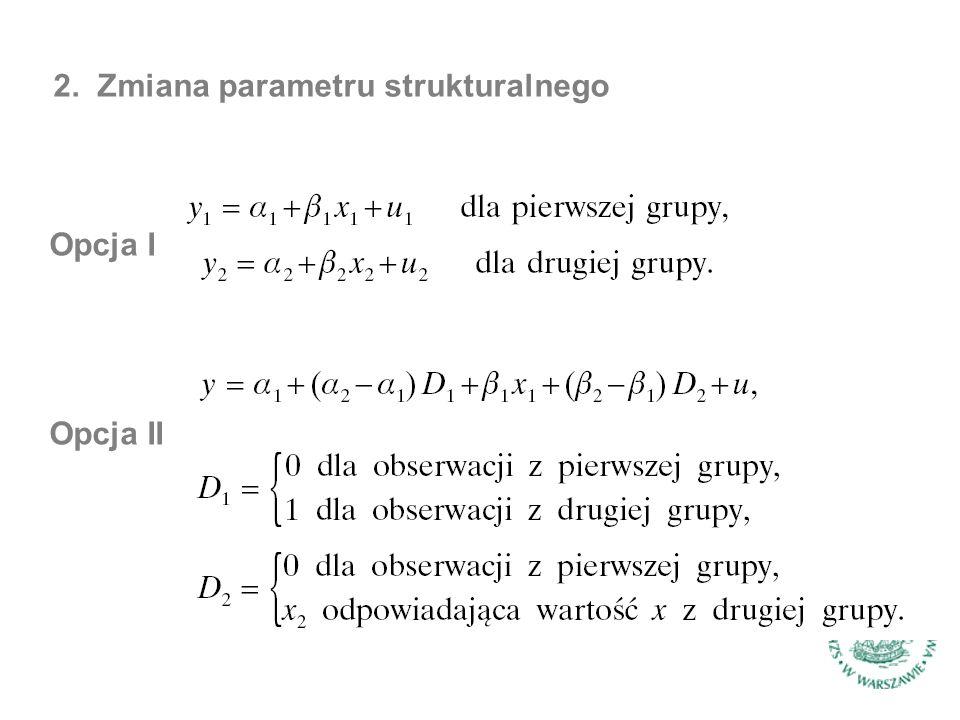 2. Zmiana parametru strukturalnego Opcja I Opcja II