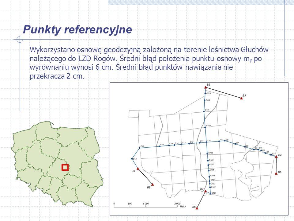 Punkty referencyjne Wykorzystano osnowę geodezyjną założoną na terenie leśnictwa Głuchów należącego do LZD Rogów.