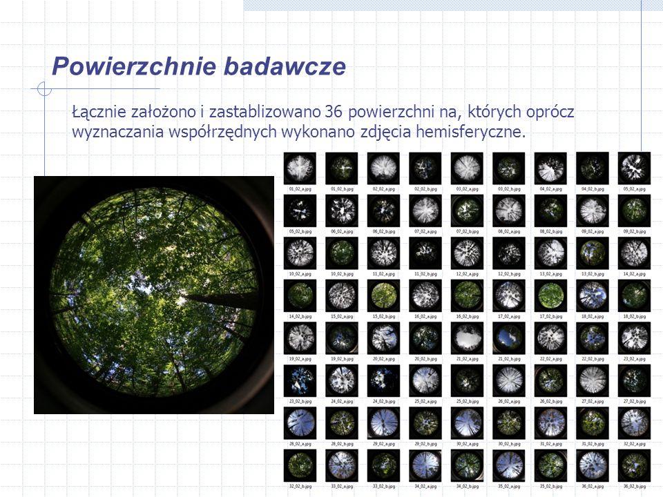 Powierzchnie badawcze Łącznie założono i zastablizowano 36 powierzchni na, których oprócz wyznaczania współrzędnych wykonano zdjęcia hemisferyczne.