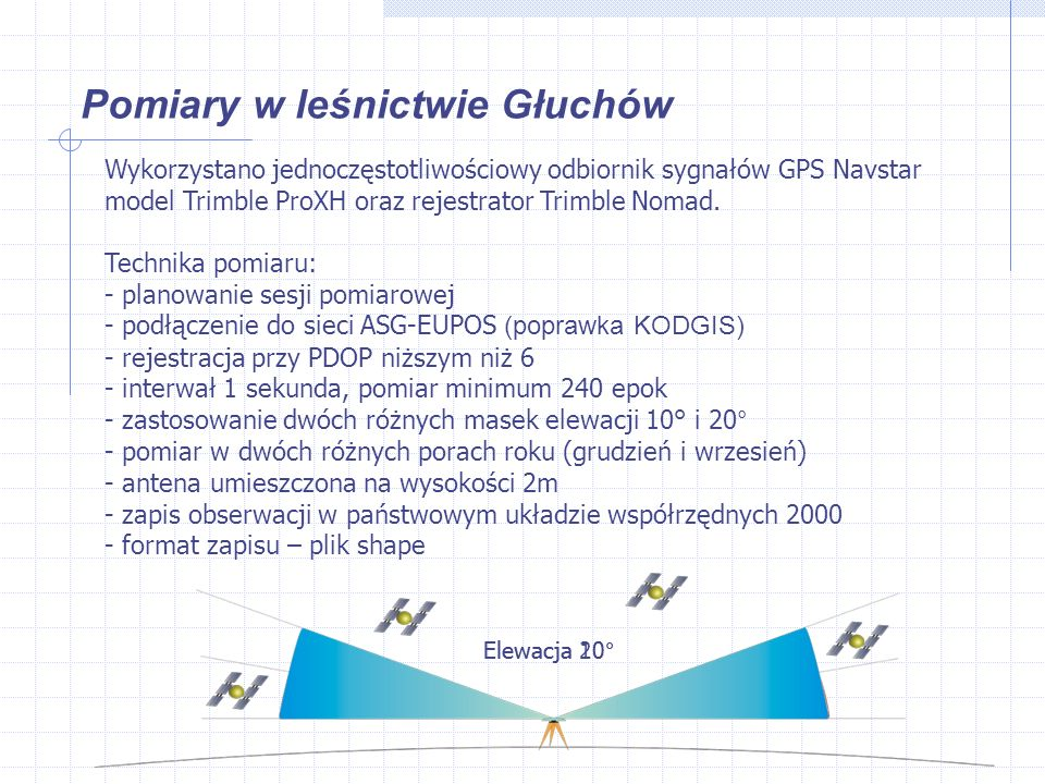 Pomiary w leśnictwie Głuchów Wykorzystano jednoczęstotliwościowy odbiornik sygnałów GPS Navstar model Trimble ProXH oraz rejestrator Trimble Nomad.